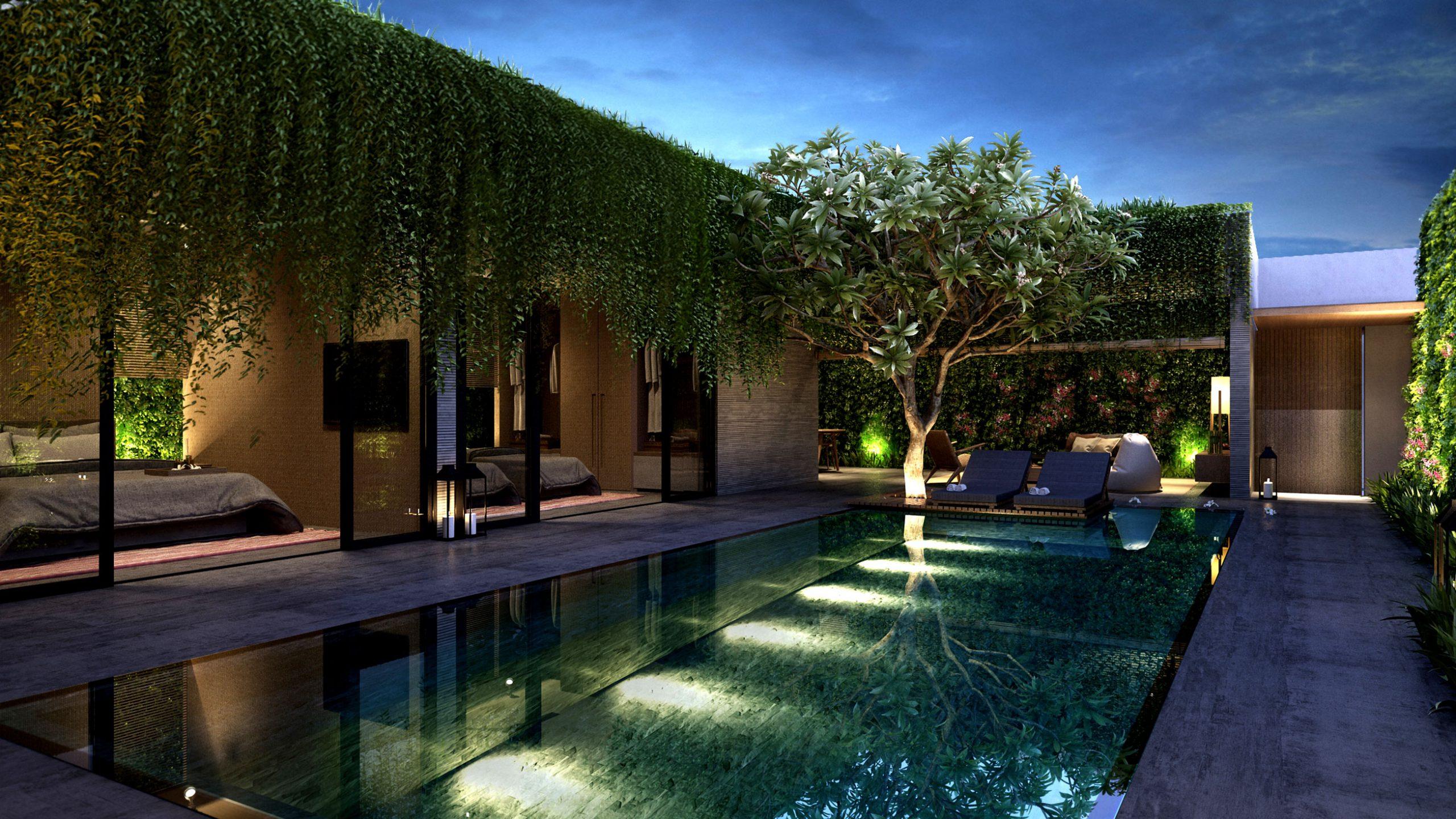 luxury landscape by pool wollongong